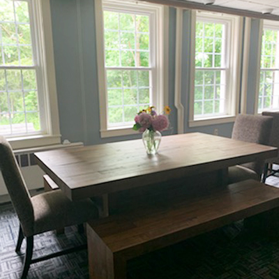 wooden tables in dining area - French Creek Recovery Center - residential program